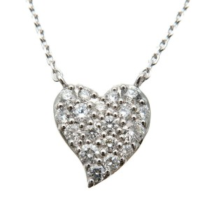 Authentic STAR JEWELRY Heart Diamond Necklace 0.20ct K18 750 White Gold Used F/S