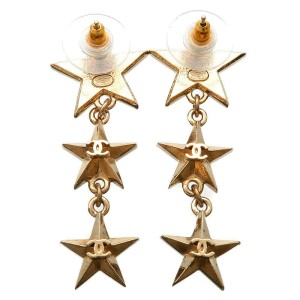 Authentic CHANEL CoCo Mark Star Charm Earrings Champagne Gold A17C Used F/S