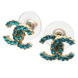 Authentic CHANEL Coco Mark Rhinestone Earrings Blue Champagne Gold 17P Used F/S