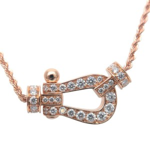 Authentic FRED Force 10 Full Diamond Necklace Medium K18 750 Rose Gold Used F/S
