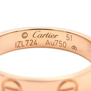 Authentic Cartier Mini Love Ring K18 Rose Gold #51 US5.5-6 HK12.5 EU51 Used F/S