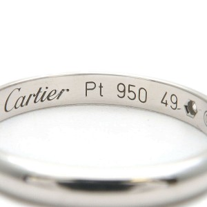 Authentic Cartier Wedding Ring 1P Diamond Platinum #49 US5 HK10.5 EU49 Used F/S