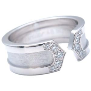 Authentic Cartier C2 Diamond Ring SM White Gold #49 US4.5-5 HK10 EU49 Used F/S