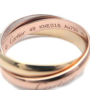 Authentic Cartier Trinity Ring K18 750 YG/WG/PG #49 US5 HK10.5 EU49.5 Used F/S