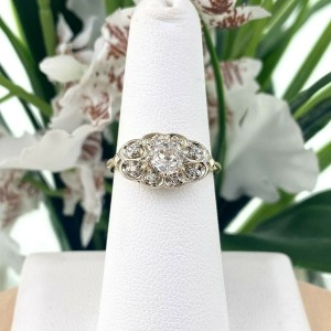 Antique Old Mine Cut Diamond 0.58 tcw Engagement Ring 14K Yellow and White Gold