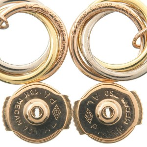 Authentic Cartier Sweet Trinity 1P Diamond Earrings K18 750 YG/WG/PG Used F/S