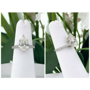 Tiffany & Co NOVO Pear Shape Diamond 2.88 tcw Engagement Ring PLAT Papers Box