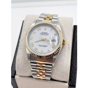 Rolex Datejust 16233 White Roman Dial 18K Yellow Gold Stainless Steel