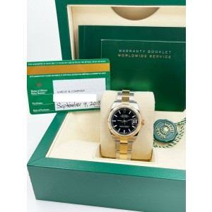 Rolex Datejust Midsize 31mm 178273 Black Dial 18K Gold and Steel Box Papers 2018