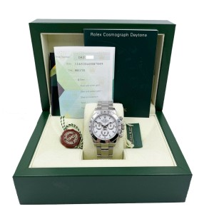 Rolex Daytona Cosmograph 116520 White Dial Stainless Steel Box Paper UNPOLISHED