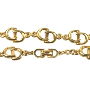 Authentic Christian Dior CD Logo Bracelet Gold Used F/S