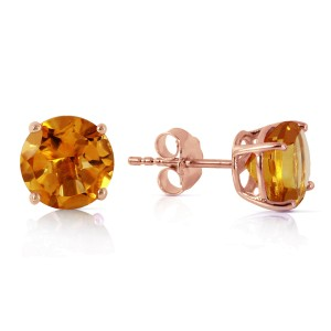3.1 CTW 14K Solid Rose Gold Anna Citrine Stud Earrings