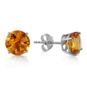 3.1 CTW 14K Solid White Gold Vous Le Charme Citrine Earrings
