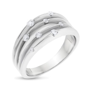 10k White Gold 0.25ct. Scattered Diamond Multi-Row Ring Size 7