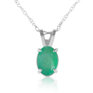0.75 CTW 14K Solid White Gold Necklace Natural Emerald