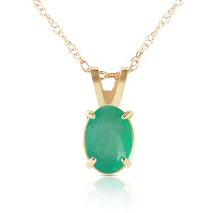 0.75 CTW 14K Solid Gold Necklace Natural Emerald