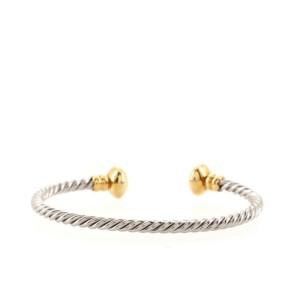 Bvlgari Torque Twist Bangle Bracelet Sterling Silver and 18K Yellow Gold