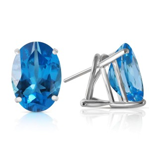 16 CTW 14K Solid White Gold French Clips Earrings Natural Blue Topaz
