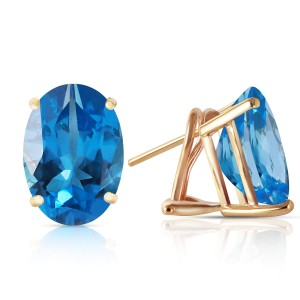 16 CTW 14K Solid Gold French Clips Earrings Natural Blue Topaz