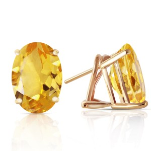 13 CTW 14K Solid Gold French Clips Earrings Natural Citrine