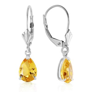 2.85 CTW 14K Solid White Gold Plunge Through Citrine Earrings