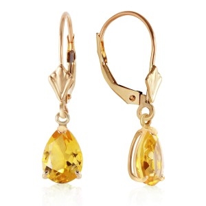 2.85 CTW 14K Solid Gold Extravaganza Citrine Earrings