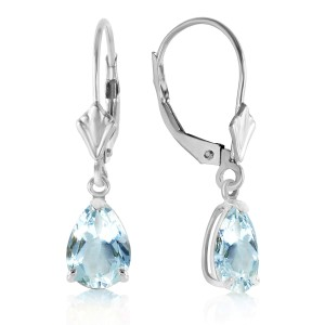 2.85 CTW 14K Solid White Gold Applying Your Hand Aquamarine Earrings