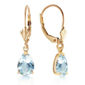 2.85 CTW 14K Solid Gold Extravaganza Aquamarine Earrings