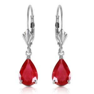 3.5 CTW 14K Solid White Gold Leverback Earrings Ruby