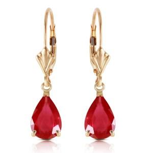 3.5 CTW 14K Solid Gold Leverback Earrings Ruby