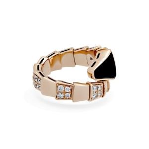 Bvlgari 18K Rose Gold Diamond Onyx Serpenti Ring Size: 5