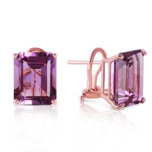 13 CTW 14K Solid Rose Gold Octagon Amethyst Earrings