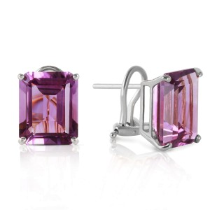 13 CTW 14K Solid White Gold Coming Years Amethyst Earrings