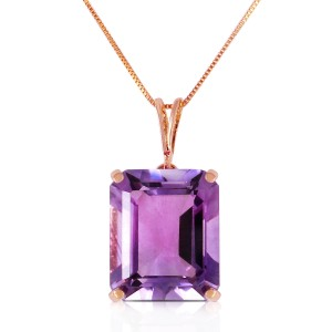14K Solid Rose Gold Necklace with Octagon Purple Amethyst