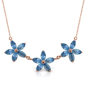 14K Solid Rose Gold Necklace with Natural Blue Topaz