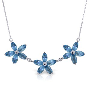 4.2 CTW 14K Solid White Gold Arabian Days Blue Topaz Necklace