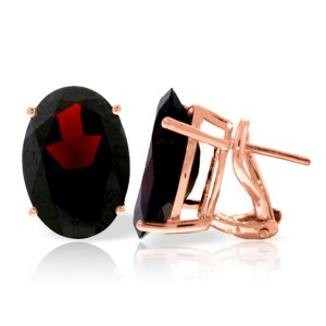 13 CTW 14K Solid Rose Gold French Clips Earrings Natural Garnet