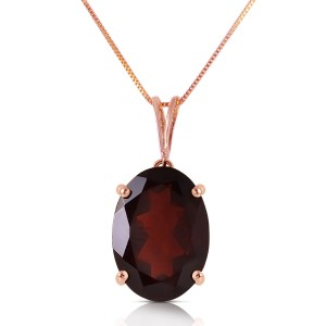 14K Solid Rose Gold Necklace with Oval Garnet