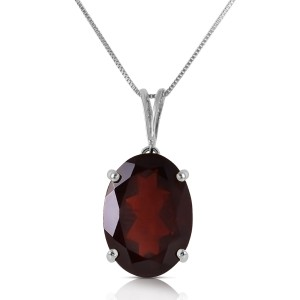 6 CTW 14K Solid White Gold Necklace Oval Garnet