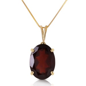 6 CTW 14K Solid Gold Necklace Oval Garnet
