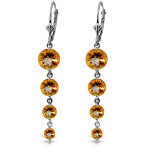 7.8 CTW 14K Solid White Gold Hope Will Find You Citrine Earrings