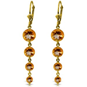 7.8 CTW 14K Solid Gold Drizzle Citrine Earrings