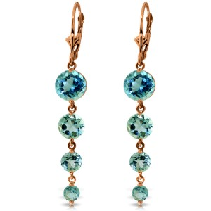 14K Solid Rose Gold Chandelier Earrings with Natural Blue Topaz