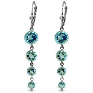 7.8 CTW 14K Solid White Gold Remeberance Of Love Past Blue Topaz Earrings