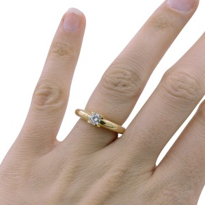 f214fea0e3731 Cartier 18K Yellow Gold with 0.33ct Round Cut Diamond Engagement Ring Size  5.25