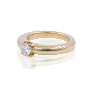 Cartier 18K Yellow Gold with 0.33ct Round Cut Diamond Engagement Ring Size 5.25