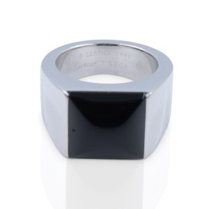 Cartier Tank 18K White Gold with Black Onyx Ring Size 4.75