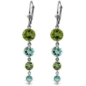 7.8 CTW 14K Solid White Gold Chandelier Earrings Peridot Blue Topaz