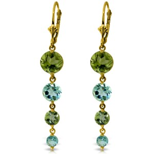 7.8 CTW 14K Solid Gold Chandelier Earrings Peridot Blue Topaz