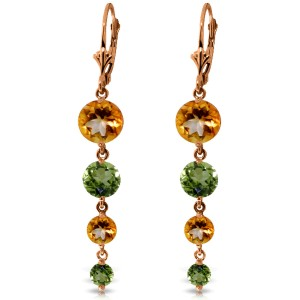 14K Solid Rose Gold Chandelier Earrings with Citrines & Peridots